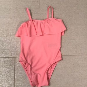 Bright pink one piece toddler girl bathing suit